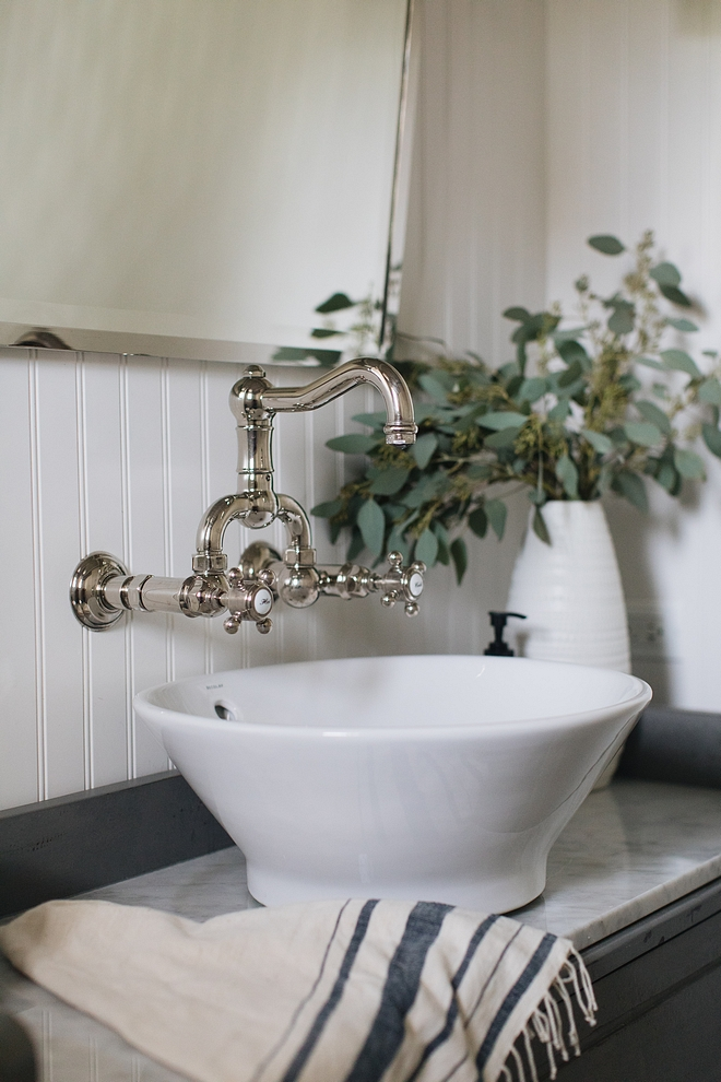 Wall mount BathroomFaucet Perrin and Rowe in Polished Nickel