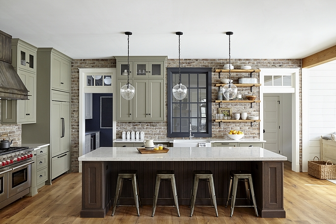 Farmhouse Kitchen Traditional farmhouse kitchen with shaker style cabinets Benjamin Moore Nantucket Grey HC-11 and brick backsplash Farmhouse Kitchen Traditional farmhouse kitchen Farmhouse Kitchen Traditional farmhouse kitchen #FarmhouseKitchen #Traditionalfarmhouse #farmhosue #farmhouse #kitchen
