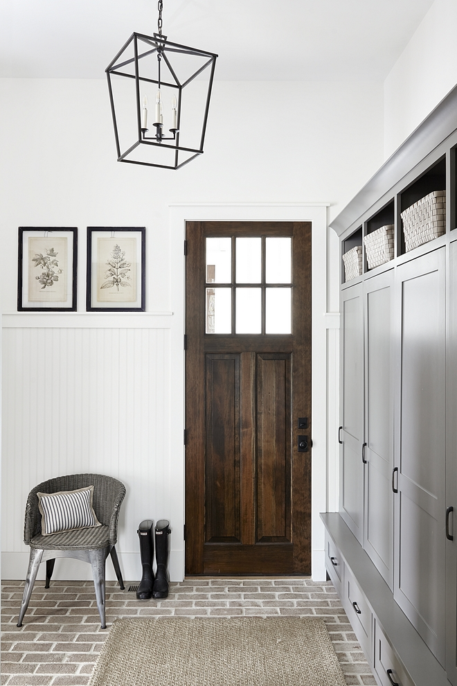 Farmhouse Mudroom Brick Flooring Farmhouse Mudroom Brick Flooring, grey cabinet, wood door, beadboard clad walls Farmhouse Mudroom Brick Flooring Farmhouse Mudroom Brick Flooring #FarmhouseMudroom #BrickFlooring #Farmhouse #Mudroom #Brick #Flooring #Farmhousestyle #farmhousemudrooms