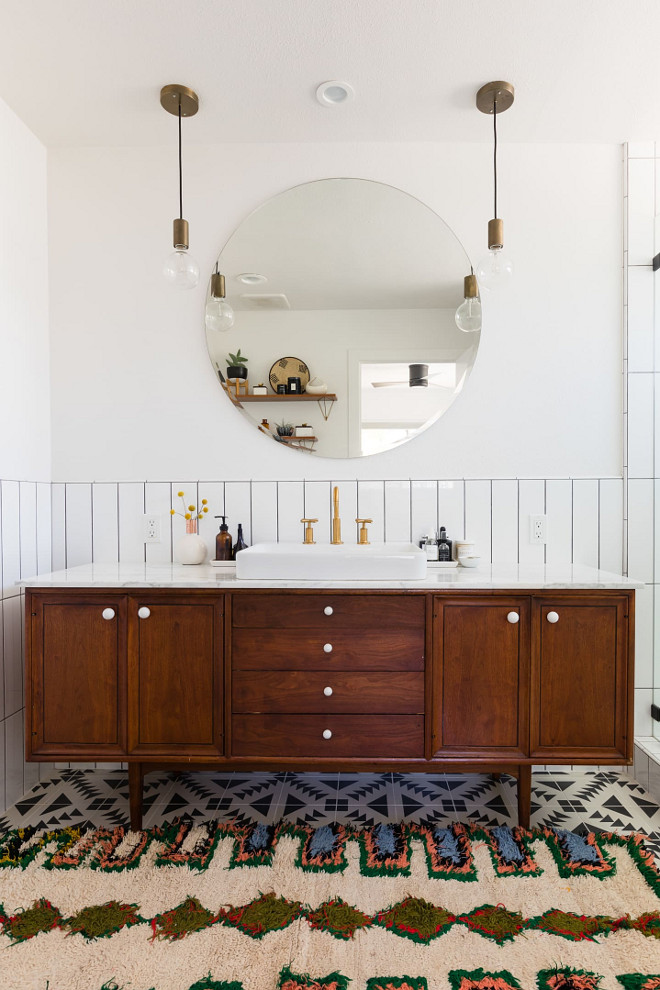 Mid-century Bathroom Mid-century Bathroom with black and white cement tile and vintage Mid-century credenza turned into vanity Mid-century Bathroom #MidcenturyBathroom