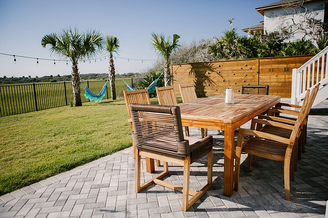 Back patio with Teak furniture