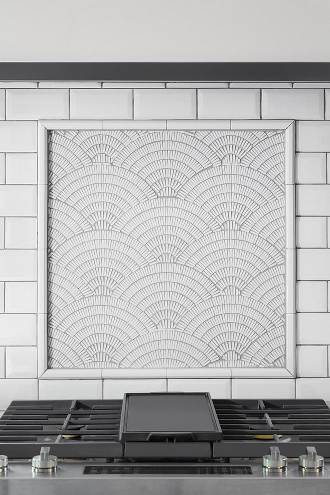 Kitchen accent Tile Above range accent tile Accent tile above range is Fan Club Ice White from Artistic Tile #rangetile #accenttile #kitchen #kitchenaccenttile #kitchentile #Accenttileaboverange #FanClubIceWhite