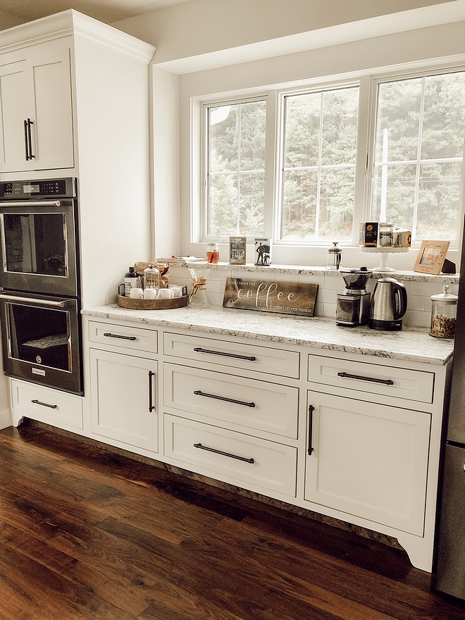 Coffee station This practical coffee station is located between the refrigerator (on right) and the ovens (on left). This is a great area for baking as well #coffeestation #bakingstation #kitchen