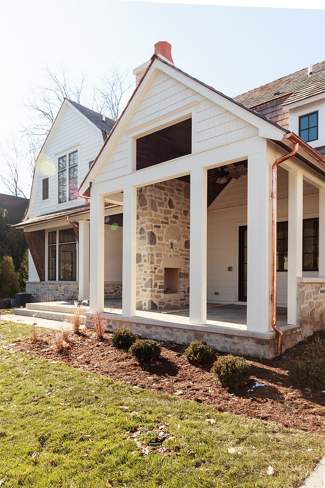Stone exterior with white and copper gutters and Downspouts #exteriorstone #stone #coppergutters #copperDownspouts