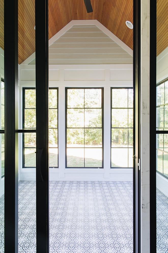 Sunroom sunroom with black windows, Cedar beadboard ceiling and cement tile #sunroom #blackwindows #Cedar #beadboard #cementtile