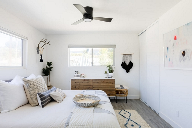Mid-century bedroom This space is light, bright, and due to the size, we keep things pretty simple in here. It's a calming space for me and is ruled by white and blue tones like most of our house #bedroom