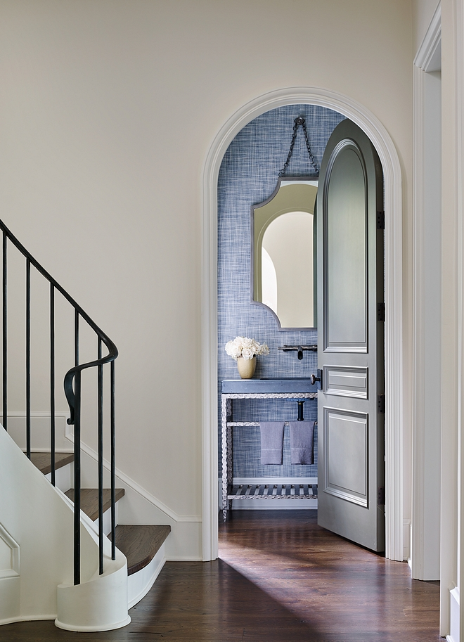 Powder room arched doorway Powder room located off foyer with arched doorway featuring a Bradley McCoy washstand with Shelf Powder room arched doorway ideas Powder room arched doorway interior design Powder room arched doorway #Powderroom #archeddoorway #archeddoor #powderbath #batrhoom