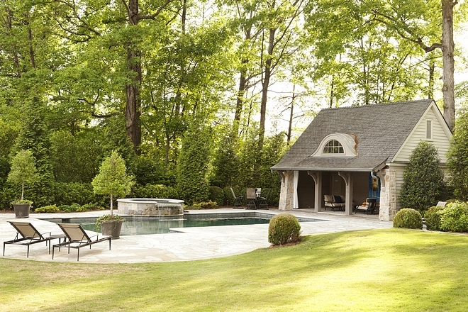 The pool are is surrounded by trees Backyard ideas #pool