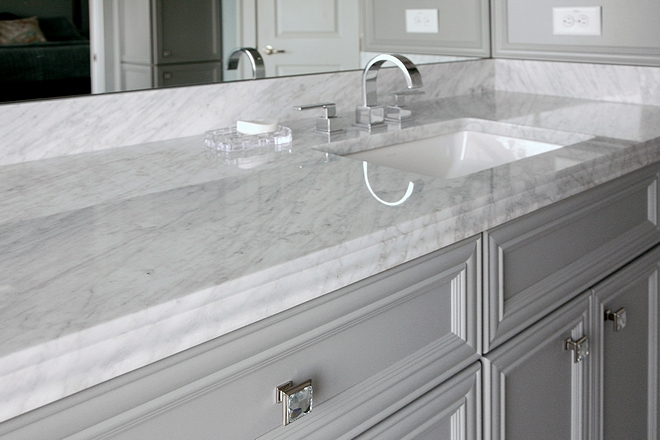 Countertop is Carrara polished 3cm marble with Ogee edge profile Bathroom Countertop is Carrara polished 3cm marble with Ogee edge profile #Countertop #bathroomcountertop #Carraramarble #Ogeeedgeprofile #edgeprofile