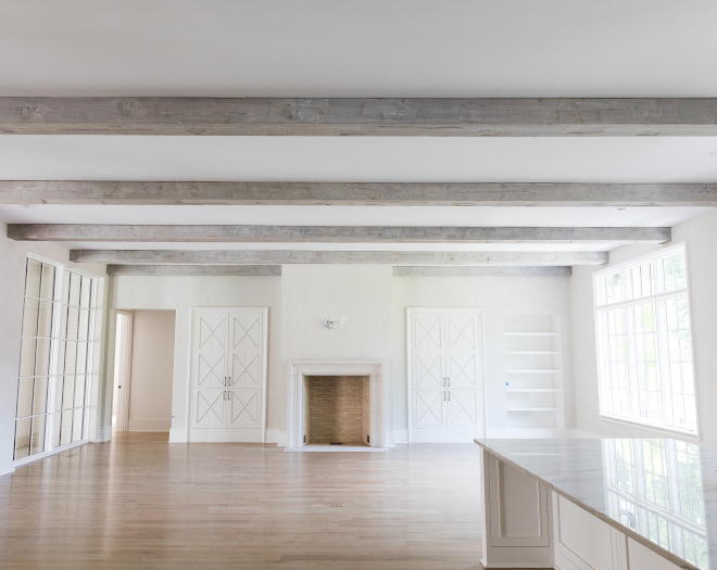 Whitewashed beams The kitchen, dining area and the Great Room features distressed box beams with a custom whitewash finish #whitewashedbeams #distressedbeams #beams