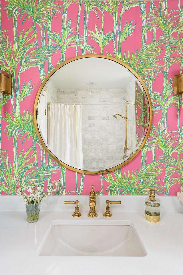 Newport Brass in Polished Brass bathroom faucet with round brass mirror #bathroom #faucet #NewportBrass #PolishedBrass