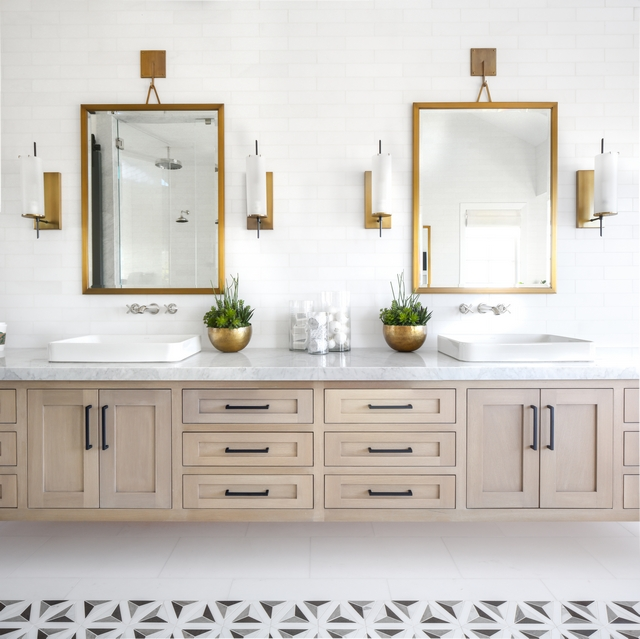 """Floating vanity Countertop is Carrara Extra Marble Slab, Polished 5"""" Edge Mirrors are Restoration Hardware Pendant Mirror Finish: Brass Size: 30""""W x 40""""H #bathroom #floratingvanity #countertop #mirrors #pendantmirror"""
