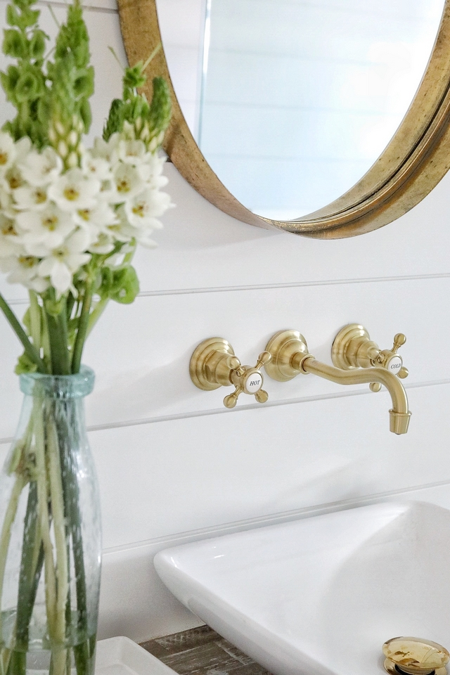 Benjamin Moore Decorators White shiplap with brass wall mounted faucet and brass metal mirror Bathroom featuring Benjamin Moore Decorators White shiplap with brass wall mounted faucet and brass metal mirror #BenjaminMooreDecoratorsWhite #shiplap #brasswallmountedfaucet #brassmetalmirror