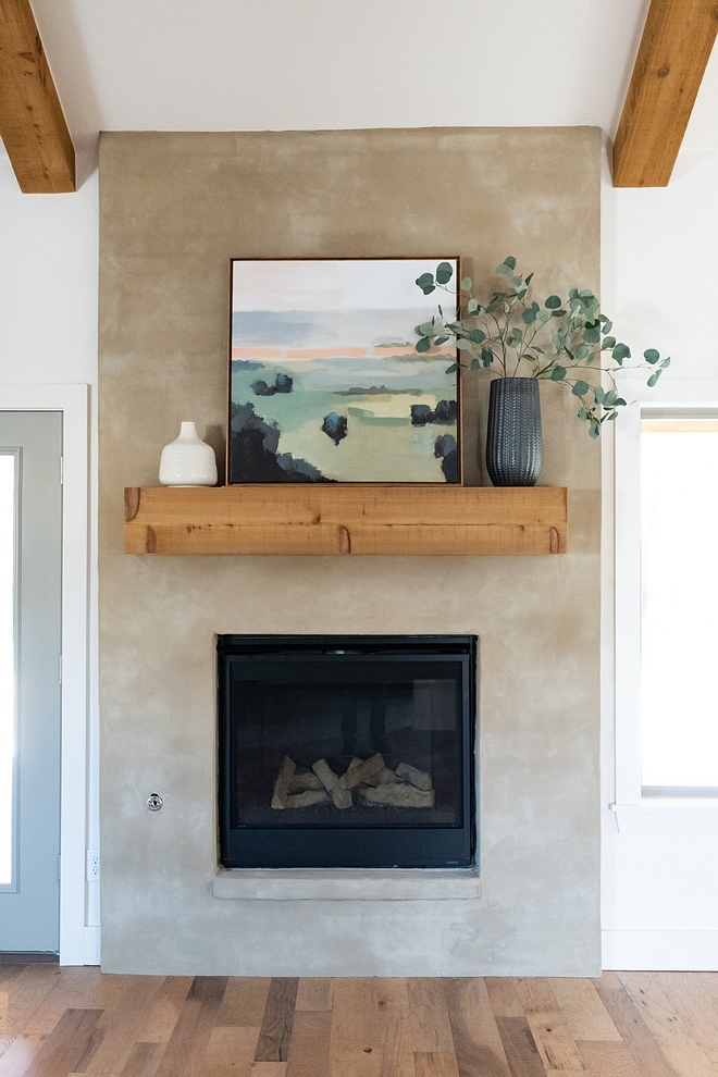 Stucco fireplace with Cedar mantel and ceiling beams Modern Farmhouse Stucco Fireplace Stucco fireplace with Cedar mantel and ceiling beams #Stuccofireplace #Cedarmantel #Cedarbeams