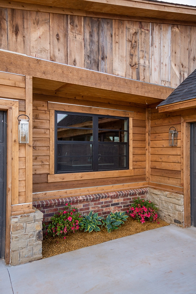 Siding is a combination of natural Cedar and reclaimed barnwood The stain color on the siding is Sherwin Williams Stone Gray exterior stain Rustic Siding natural Cedar and reclaimed barnwood #RusticSiding #siding #naturalCedar #reclaimedbarnwood #Cedar #barnwood
