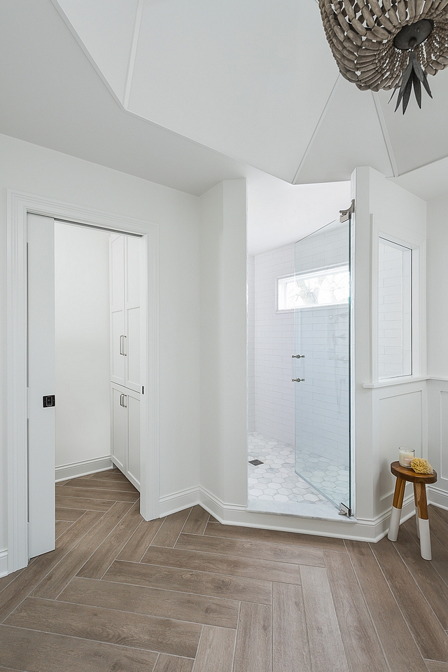 Bathroom Renovation Bathroom Shower Window A high window was added inside of the shower to bring in light. The water closet (with cabinets for extra storage!) is located on the left #bathroom #window #shower #watercloset #cabinet