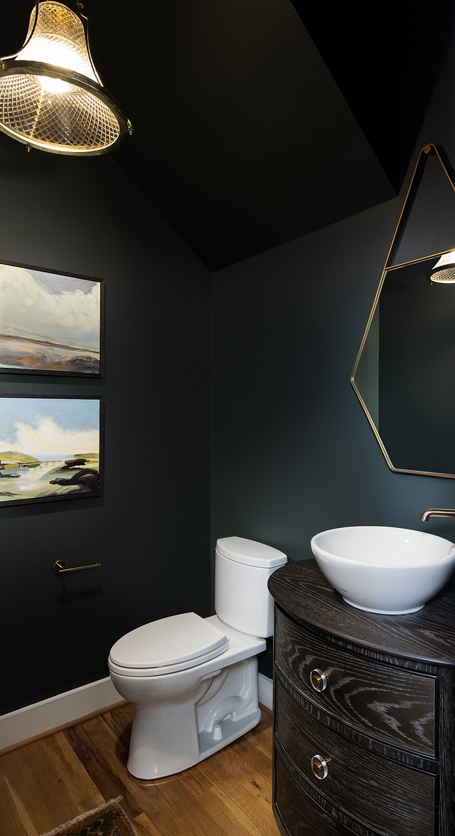 Black paint color The powder room has black walls - paint color is Sherwin Williams SW 7062 Rock Bottom in semi-gloss Sherwin Williams SW 7062 Rock Bottom Sherwin Williams SW 7062 Rock Bottom #blackwalls #paintcolor #blackpaintcolor #SherwinWilliams #SW7062 #SherwiWilliamsRockBottom