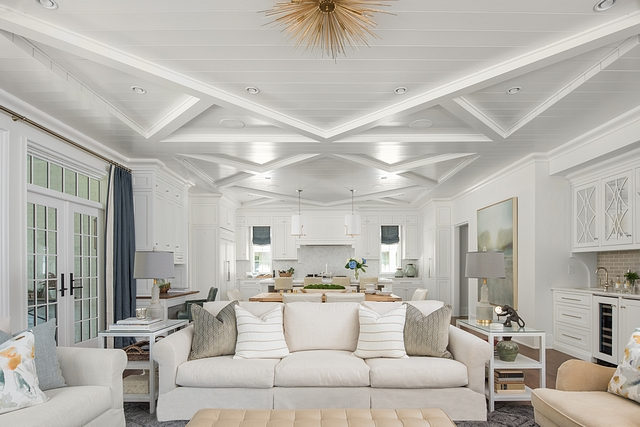 "Diamond Ceiling The ceiling design creates two large diamonds set into a soffit with perpendicular beams meeting in each corner. We lined the entire ceiling in 6"" ship-lap with a nickel gap #ceiling #shiplap #diamond #ceilingdesign #millwork"