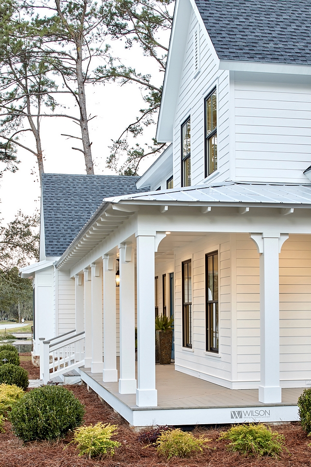 White Siding White home White Farmhouse White exterior Siding is James Hardie, Plank & Trim, Smooth Paint color is Sherwin Williams SW 7004 Snowbound in satin #WhiteSiding #Whitehome #WhiteFarmhouse #Whiteexterior #Siding #JamesHardie #SherwinWilliamsSW7004Snowbound