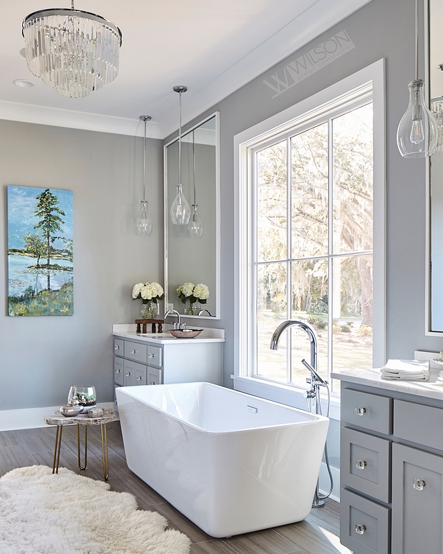 Sherwin Williams SW 7658 Gray Clouds The master bathroom features an elegant grey and white color scheme Wall and cabinet paint color is Sherwin Williams SW 7658 Gray Clouds Sherwin Williams SW 7658 Gray Clouds #SherwinWilliamsSW7658GrayClouds #graypaintcolor #greycolorscheme #colorscheme