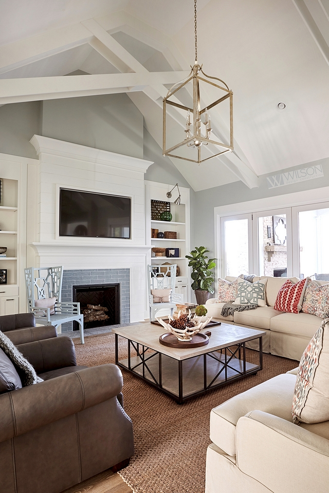 Cityscape by Sherwin Williams wall paint color with Sherwin Williams Extra White built-ins, trusses, trim and ceiling #CityscapebySherwinWilliams #paintcolor #SherwinWilliamsExtraWhite #builtins #trusses #trim #ceiling