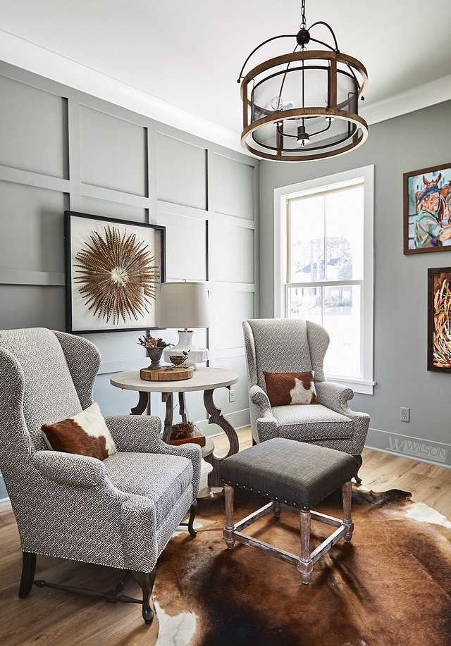 Sherwin Williams SW 9164 Illusive Green grey grid board-and-batten paneling Sherwin Williams SW 9164 Illusive Green grey grid board-and-batten paneling paint color #SherwinWilliamsSW9164IllusiveGreen #greygridboardandbatten #greypaneling gridboardandbatten #SherwinWilliamsIllusiveGreen