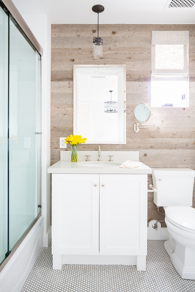 Reclaimed shiplap in bathroom Bathroom features reclaimed wood shiplap and round Penny tile Reclaimed shiplap in bathroom Bathroom Reclaimed shiplap in bathroom #Bathroom #Reclaimedshiplap #bathroomreclaimedshiplap #Bathroomshiplap