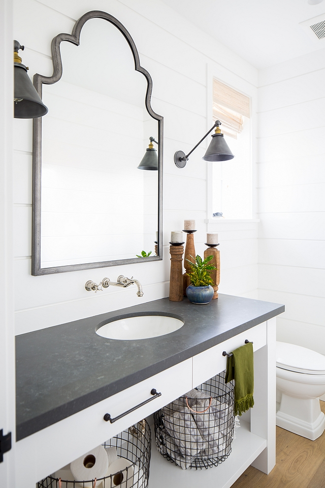 White powder room with shiplap The dark countertop beautifully constrasts with the white vanity and shiplap walls White powder room with shiplap The dark countertop beautifully constrasts with the white vanity and shiplap walls White powder room with shiplap The dark countertop beautifully constrasts with the white vanity and shiplap walls #Whitepowderoom #powderroom #shiplap #darkcountertop beautifully #whitevanity #bathroomshiplap