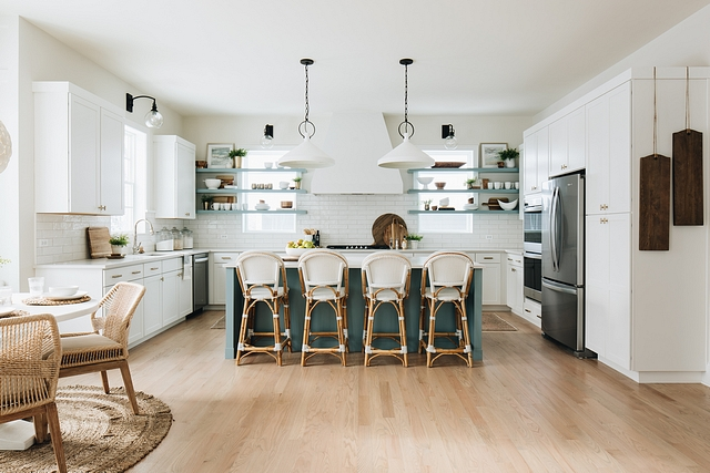 New Kitchen Design Ideas This kitchen is full of innovative ideas It features custom cabinets, custom floating shelves and an impressive hood Notice the wooden boards on the right side I am loving this #NewKitchenDesignIdeas #kitchen #kitchenideas