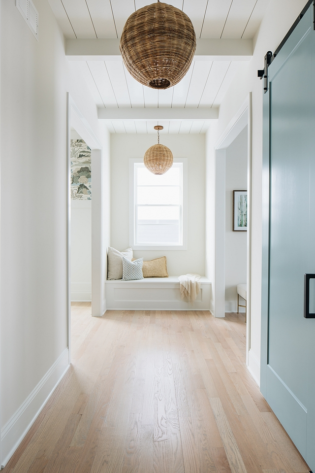 Shiplap ceiling with white beams Hallway with blue barn door, window seat and ceiling with white beams and shiplap Shiplap ceiling with white beams Hallway with blue barn door, window seat and ceiling with white beams and shiplap #Shiplapceiling #shiplapbeam #shiplap #beam #whitebeams #Hallway #bluebarndoor #barndoor #windowseat #ceiling