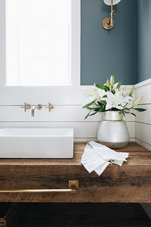 Charlotte Slate AC-24 by Benjamin Moore Charlotte Slate AC-24 by Benjamin Moore bathroom with chunky reclaimed wood floating vanity Wall paint color is Charlotte Slate AC-24 by Benjamin Moore #CharlotteSlateAC24byBenjaminMoore