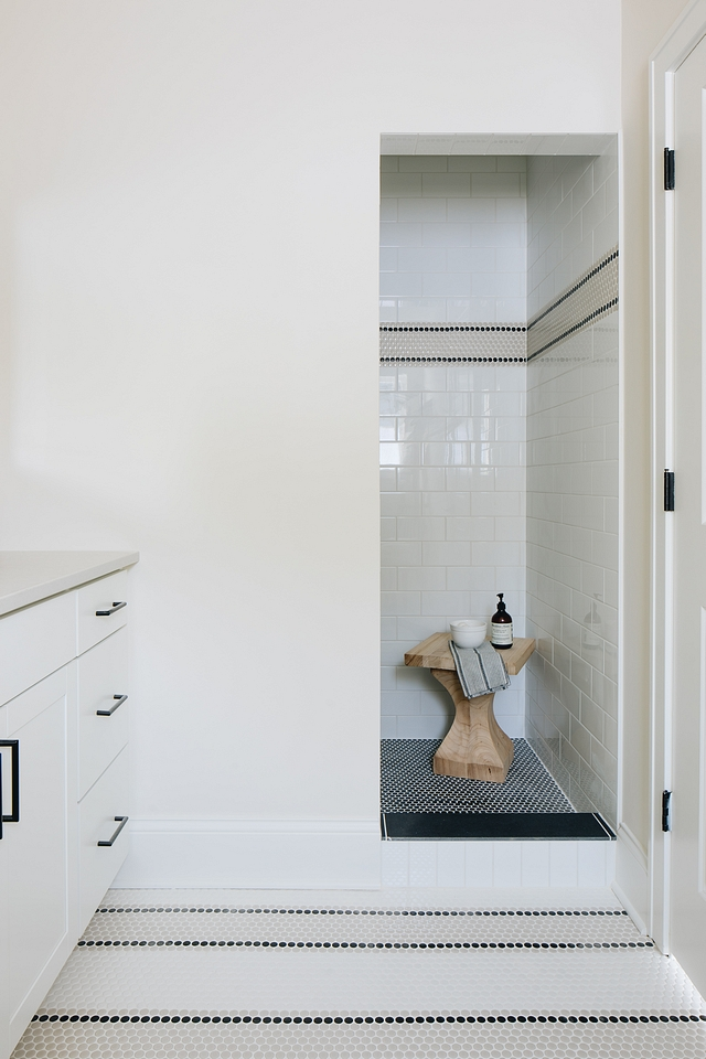 Black and white bathroom tile pattern Floor tile is combination of three colors of Penny Tile tile ideas #tile