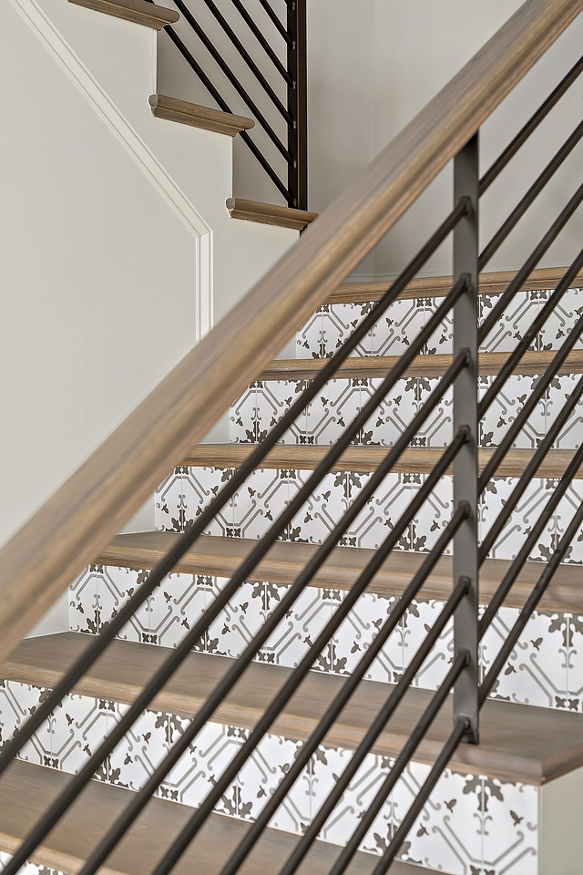 Tile on stair risers This was our first time doing tile risers as well as our first time using metal railings Tile on stair risers Stair riser with tile Tile on stair risers #Tilestairrisers #Tile #stairrisers
