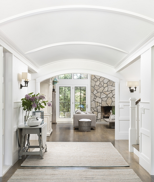 Barrel Vault Ceiling We started the foyer with a barrel vaulted to give a boat cabin feel We added round archways to compliment the barrel vault Barrel Vault Ceiling Foyer Barrel Vault Ceiling #BarrelVaultCeiling #Foyer #Barrelceiling #VaultCeiling