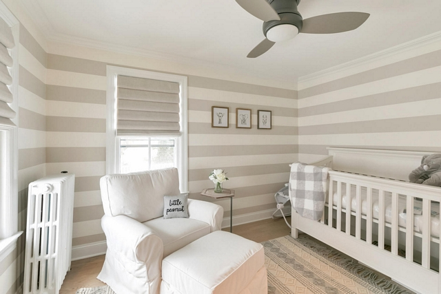 Nursery striped wallpaper I was on a hunt for neutral wall paper that would work with the roman shades and keep in theme with the rest of the house Nursery striped wallpaper #Nursery #stripedwallpaper