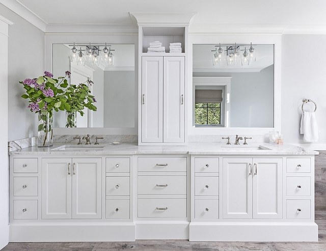 Bathroom Cabinet Bathroom Cabinetry We chose shaker style white cabinets with glass handles and plumbing fixtures for a classic spa feel. The tower separates two separate areas #bathroomcabinet #bathroom #cabinet #cabinetry #bathroomcabinettower
