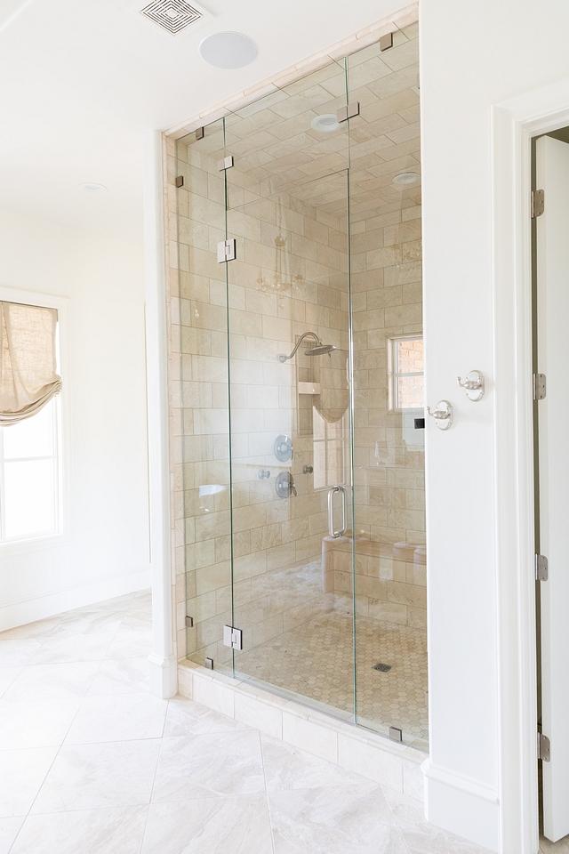 """Shower Tile Shower Tiling Ideas Tub surround/Shower Tile- Speartek Churchill 6""""X12"""" Shower floor – Alabastrino hexagon mosaic, also in shower niche #showertile #shower #tile #tiling"""