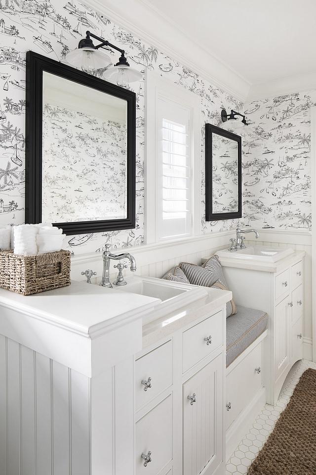 Bathroom window seat between vanities Kids bathroom featuring window seat with storage between vanities Bathroom window seat between vanities #Bathroom #windowseat #bathroomwindowseat