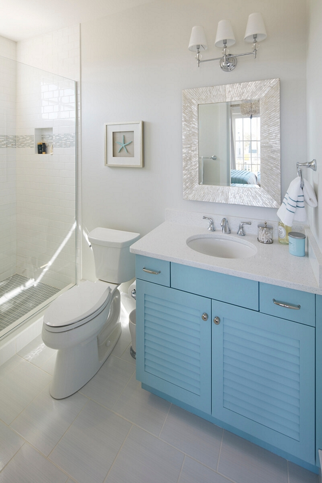 Bathroom vanity with louvered doors Bathroom blue vanity with louvered doors #Bathroom #vanity #louvereddoorvanity