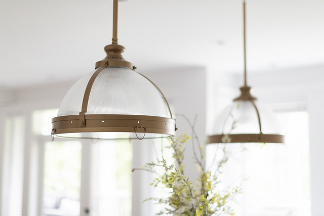 """Kitchen Lighting Our oversized 18"""" island pendant lights are perfect for our 10' island. I had them custom powder coated to match the hardware #kitchenlighting #kitcehnpendants #lighting #kitchen"""
