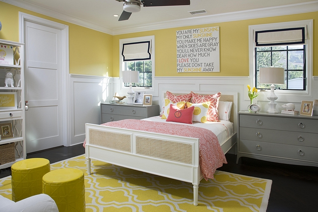 Yellow and coral bedroom color scheme Girls bedroom color scheme ideas Yellow and coral bedroom color scheme Yellow and coral bedroom color scheme #Yellow #coral #bedroom #colorscheme