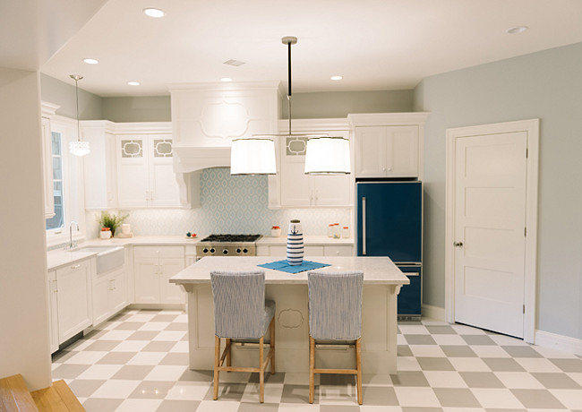 Basement Kitchen. Basement Kitchen. Design. Bright Basement Kitchen. Basement Kitchen Paint Color. Basement Kitchen Cabinet paint color is Benjamin Moore White Dove OC-17. Basement Kitchen Paint Color is Benjamin Moore Perspective CSP-5. #Basement #Kitchen Four Chairs Furniture.