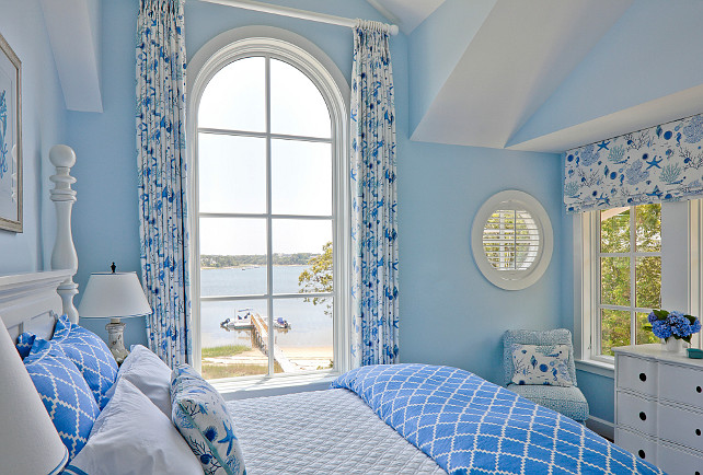 Blue Bedroom Paint Color Ocean View Curtains  Clic Shingle Coastal Home  Bunch Interior Design Ideas. Ocean Blue Bedroom Color   Bedroom Style Ideas