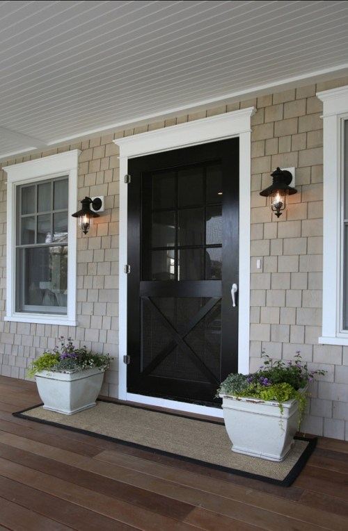 Doormats Long Length Planters Symmetric Doorway Entryway Front Porch Home Decor Exterior Black Door Wood Flooring Outside Design