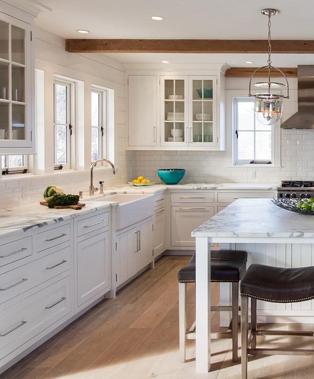 Kitchen with bleached hardwood floors plank walls. #Kitchen #BleachedHardwood #BleachedFlooring #Plank #KitchenPlank #PlankWalls Jonathan Raith Inc.