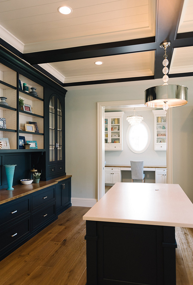 Navy Cabinet. Navy Cabinet Paint Color. Navy Cabinet Ideas. Navy Cabinet. Dark Navy Cabinet Paint Color. Cabinet and Box Beam Paint Color: Van Deusen Blue by Benjamin Moore White Ceiling Paint Color: Benjamin Moore White Dove OC-17 Navy Blue Cabinet #Navy #CabinetFour Chairs Furniture.