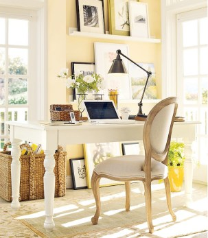 Paint Colors for Office Productivity Wall Gallery White Desk Accent Chair Lemon Yellow Walls Black Desk Lamp