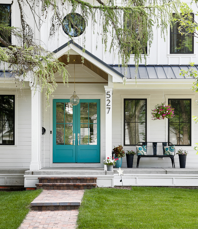 White Farmhouse With Wrap Around Porch Home Bunch