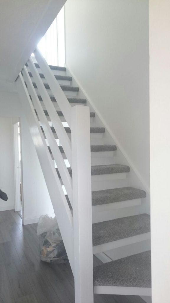 Spectacular Grey Open Plan Stairs And Karndean Hall Fitted In | Gray Carpet On Stairs | Contemporary | Geometric | Design | Grey Pattern | Farmhouse