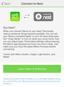 Nest Cam, Nest Thermostat and Wemo Integration